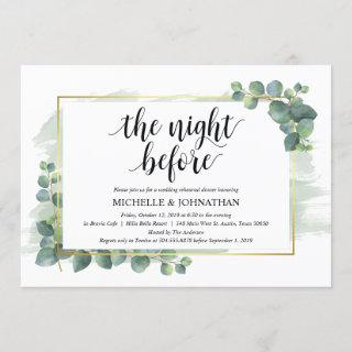 Eucalyptus Wedding Rehearsal Dinner Invitations