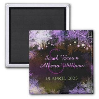 Evening Purple Forest Wedding Save the Date Magnet