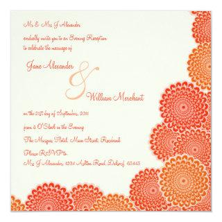 Evening Wedding Invitations Tangerine Flowers