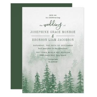 Evergreens in the Fog Forest in Green Wedding Invitation