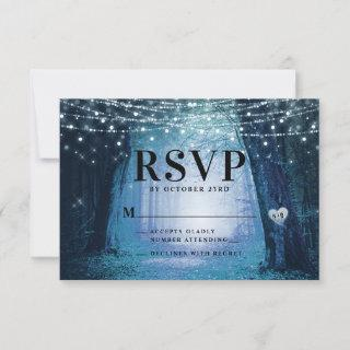Evermore | Enchanted Fairy Forest | Blue Wedding RSVP Card