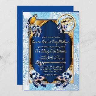 Exotic-Parrot Blue tone feathers Wedding Invitation