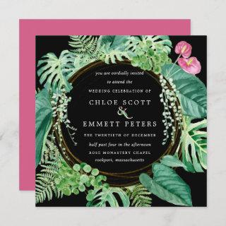 Exotic Tropical Pink Floral Winter Wedding Invitation