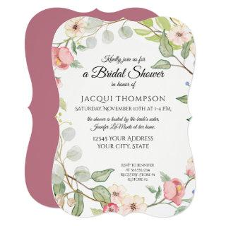 Exquisite Foliage Berry Pink Wild Rose Watercolor Invitations
