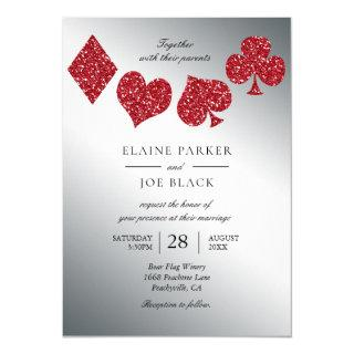Extreme sheen Las Vegas Red Glitter Silver Wedding Invitation
