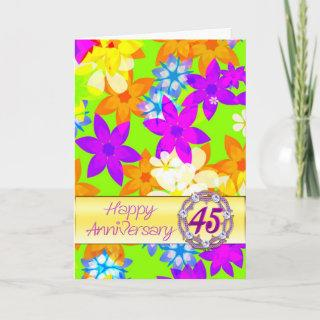 Fabulous flowers 45th anniversary for a couple card