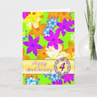 Fabulous flowers 4th anniversary for a couple card