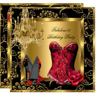 Fabulous Red Heels Chandelier Corset Rose Lace 2 Invitation