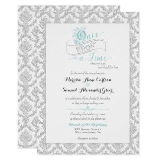 Fairytale Once Upon a Time Damask Turquoise Invitations