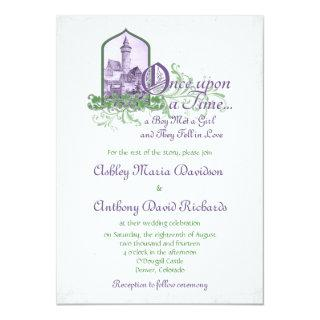 Fairytale Purple Green Castle Once Upon Wedding Invitations