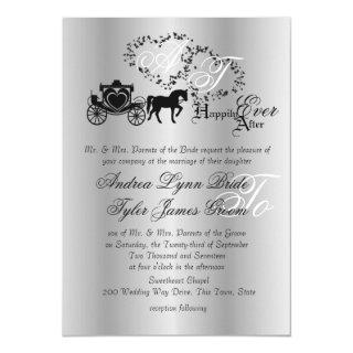 Fairytale Wedding Carriage Silver Invitations