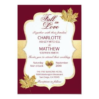 Fall Autumn Burgundy Gold FALL IN LOVE Wedding Invitations