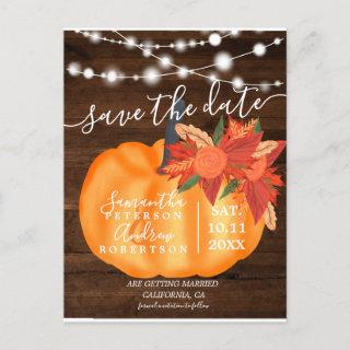 Fall autumn pumpkin string lights save the date announcement postcard