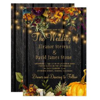 Fall autumn rustic barn wood floral wedding invitation