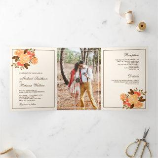 Fall Autumn Rustic Floral Photo Wedding Tri-Fold Invitation