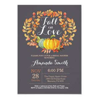 Fall Bridal Shower Invitations Card Gray