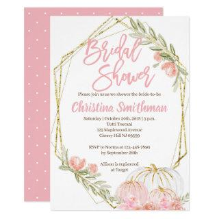 Fall Bridal Shower Invitations Pink and Gold