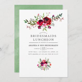 Fall Bridesmaids Luncheon Floral Invitations