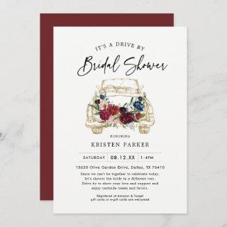 Fall Burgundy Drive By Bridal Shower Invitations
