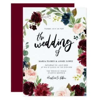 Fall burgundy floral wedding invitation
