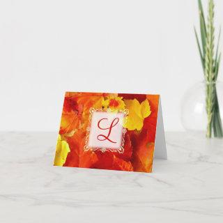 Fall Colored Leaves Monogrammed Blank Note Card