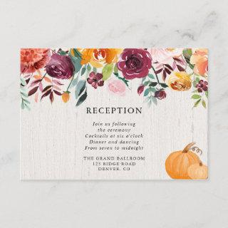 Fall floral and pumpkins watercolor reception enclosure card