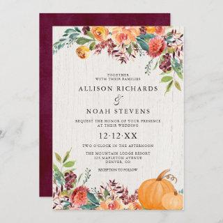 Fall floral and pumpkins watercolor wedding Invitations