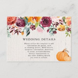 Fall floral pumpkins watercolor wedding details enclosure card