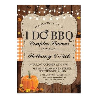 Fall I DO BBQ Couples Showers Rustic Lights Invite