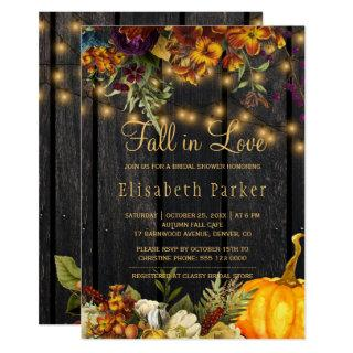 Fall in Love autumn floral barn wood bridal shower Invitation