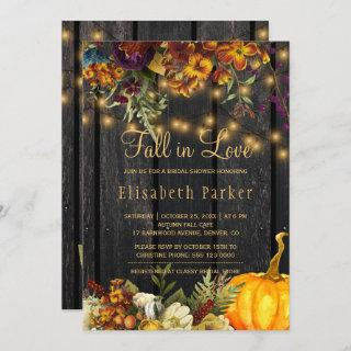 Fall in Love autumn floral barn wood bridal shower Invitations