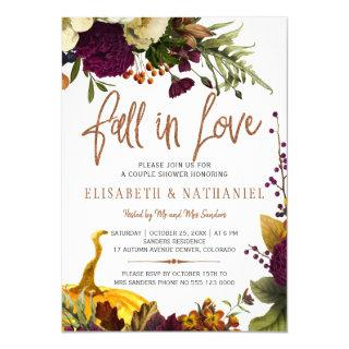 Fall in love autumn floral couple shower Invitations