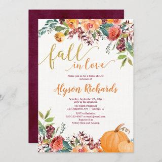 Fall in love autumn floral rustic bridal shower invitation