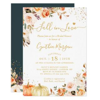 Fall in Love Autumn Gold Chic Floral Bridal Shower Invitations