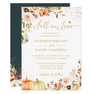 Fall in Love Autumn Gold Floral Pumpkin Wedding Invitation