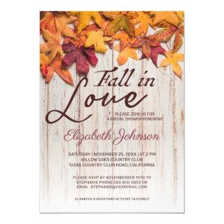 Fall in Love Bridal Shower Wood Autumn Leaves Invitation
