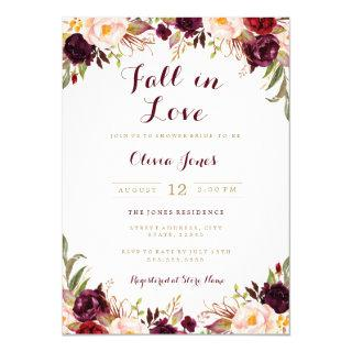 Fall in Love Burgundy Floral Bridal Shower Card