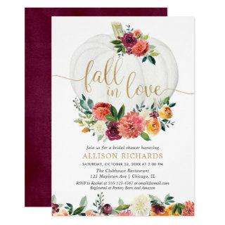 Fall in love burgundy gold floral white pumpkins Invitations