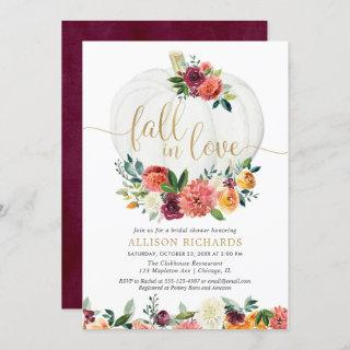 Fall in love burgundy gold floral white pumpkins invitation
