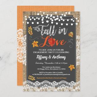 Fall in love engagement party rustic chalkboard