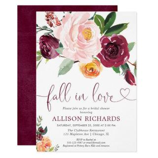 Fall in love fall floral burgundy bridal shower invitation