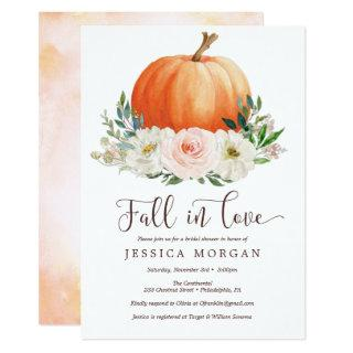 Fall in Love Pumpkin Bridal Shower Invitations