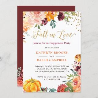 Fall in Love Pumpkin Floral Gold Engagement Party