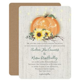 Fall in Love Pumpkin Sunflowers & Lights Wedding Invitations
