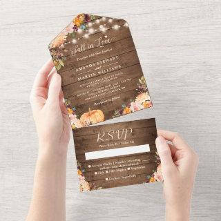 Fall in Love Rustic Autumn Floral Pumpkin Wedding All In One