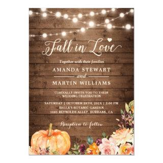 Fall in Love Rustic Autumn Floral Pumpkin Wedding Invitations