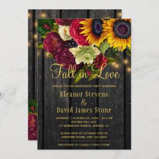 Fall in love rustic chic floral wood engagement