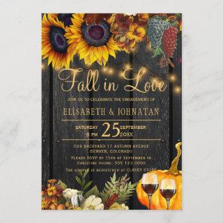 Fall in Love rustic floral wood engagement party Invitation