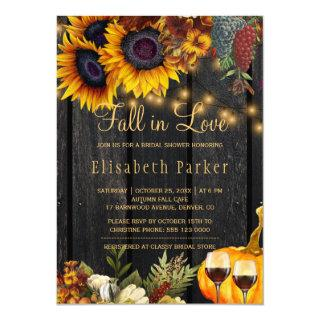 Fall in Love rustic harvest wood bridal shower Invitation