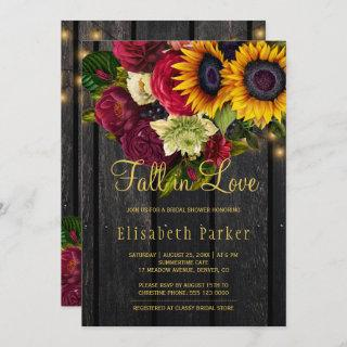 Fall in love rustic sunflower roses bridal shower Invitations